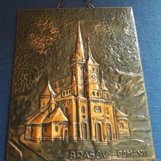 Tablou Biserica Neagra Brasov in foita de cupru bronz metaloplastie - Arta locala