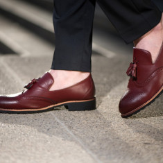 Pantofi din piele Oxford Loafer COD: PLC-1 - New Collection! - Pantofi barbat, Marime: 40, 41, 43, 44, Culoare: Visiniu, Piele naturala, Eleganti