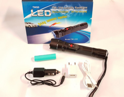 Electrosoc lanterna acumulator LiIon primul electrosoc incarcare 12v, 220v, USB foto