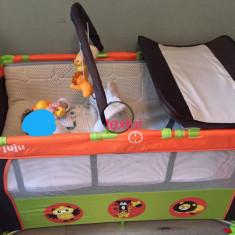 Patut cu 2 nivele Juju Sleepy Baby, Verde/Portocaliu - Patut pliant bebelusi Baby Dreams, 120x60cm