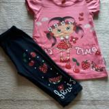 Compleu fetite tricou si pantaloni trei sferturi pentru varsta de 3/4 ani