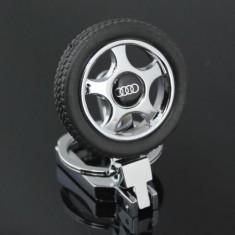 Breloc auto metalic pentru AUDI detaliu cauciuc roata + ambalaj cadou