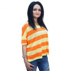 Tricou in dungi, dama, galben cu portocaliu, Bluhmod