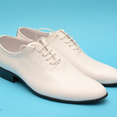 Pantofi albi barbati piele naturala casual-eleganti cod P65 - Editie de LUX - Pantofi barbat, Marime: 37, 38, 39, 40, 41, 42, 43, 44, Culoare: Negru