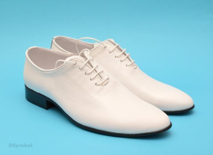Pantofi albi barbati piele naturala casual-eleganti cod P65 - Editie de LUX