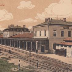 PREDEAL, GARA, LOCOMOTIVA, TREN, STARE FOARTE BUNA - Carte Postala Transilvania 1904-1918, Circulata, Printata