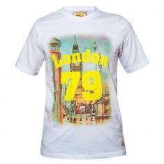 Tricou South Beach din bumbac 100% cu imprimeu London 79, alb, pentru barbati
