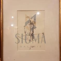 TABLOU, STEFAN CALTIA , PESCAR VANATOR, grafica , 1984