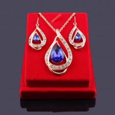 Set Aur- Albastru- Filigran 18k - Safire Austria Cristal - Femei/Elegant/Safire - Set bijuterii placate cu aur