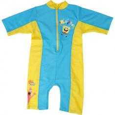 Salopeta copii, protectie ultraviolete, Sponge Bob, galben - albastru