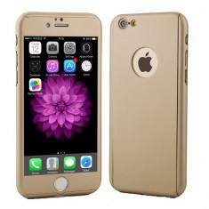 Husa fata-spate iPhone 6PLUS / 6sPLUS GOLD + Folie de sticla gratis, iPhone 6 Plus, Auriu, Plastic