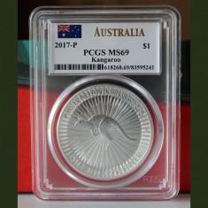 Australia / 1$ Kangaroo 2017-P / 1 Oz. 999 Silver / PCGS MS69, Australia si Oceania, Argint