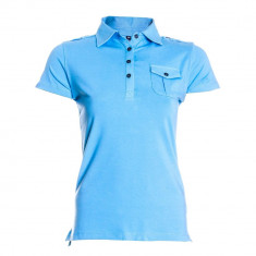 Tricou polo cu 3 nasturi Bjornson Fridgunn, buzunar la piept, bleu, pentru barbati