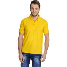 Tricou galben Polo simplu cu 3 nasturi