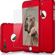 Husa iPhone 7PLUS Red 360 grade protectie fata-spate + Folie de sticla - Husa Telefon, Rosu, Carcasa