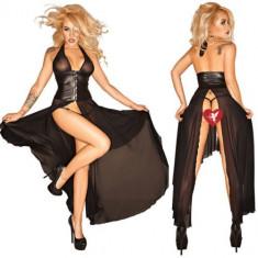 Lenjerie Lady Lust Sexy Piele PU Rochie Lunga Vinil Club Clear Bust Party - Lenjerie sexy femei, Culoare: Negru