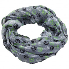 Esarfa dama Accires, circulara, gri/verde, cu imprimeuri, vascoza, 4040GY/GR - Esarfa, Sal Dama