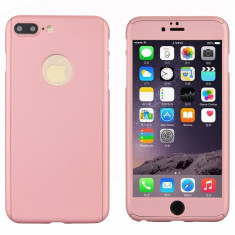Husa iPhone 7PLUS ROSE-GOLD 360 grade protectie fata-spate + Folie de sticla - Husa Telefon, Roz