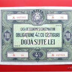 ROMANIA - OBLIGATIUNE 4% CU CASTIGURI 200 LEI - Cambie si Cec