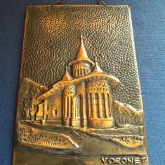 Tablou manastirea Voronet in foita de cupru bronz  metaloplastie cu eticheta