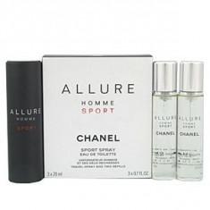 Chanel Allure Homme Sport EDT Parfum de buzunar si rezerva 3x20 ml pentru barbati - Parfum barbati Chanel, Apa de toaleta