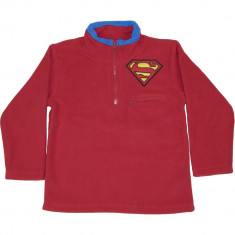 Bluza rosie fleece cu fermoar la gat, Superman