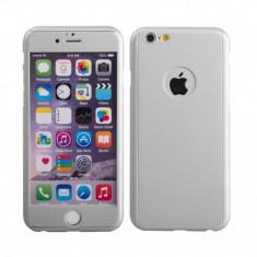 Husa fata-spate iPhone 6PLUS / 6sPLUS SILVER + folie de stical gratis, iPhone 6 Plus, Argintiu, Plastic