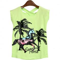 Tricou verde Summer Horse, pentru fetite