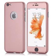 Husa fata-spate pentru iPhone 6PLUS/6sPLUS  ROSE-GOLD + folie sticla gratis, iPhone 6 Plus, Roz, Plastic