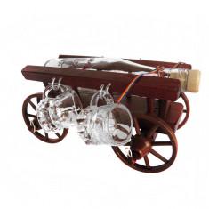 Minibar car mic din lemn cu 4 paharute CDT-07-4P-OSH