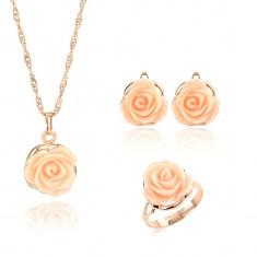 Set aur 18k - Trandafir/Rose - Roz/Femeie/Placat/Tipla/Cutie cadou! - Set bijuterii placate cu aur
