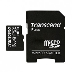 MICRO SD CARD 16GB CLS4 ADAPTOR TRANSCEND - Card Micro SD