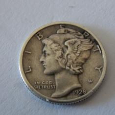 Moneda argint one dime 1928, America de Nord