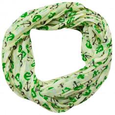 Esarfa dama Accires, circulara, verde deschis, cu imprimeuri, vascoza, 4359LM/GR - Esarfa, Sal Dama