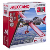 Meccano - Set Constructie 2 in 1 Avion pentru Acrobatii, 78 Piese