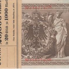 BANCNOTE GERMANIA, SERIE CONSECUTIVA, 1000 MARCI DIN 1910, UNC, 20 BUCATI - bancnota europa