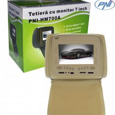 Aproape nou: Tetieră 7 inch PNI HM700A-Y bej cu fermoar - DVD Player Portabil