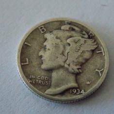 Moneda argint one dime 1934, America de Nord