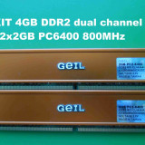 Memorie RAM PC DDR2 4GB KIT PC6400 800MHz CL4 Geil, Dual channel