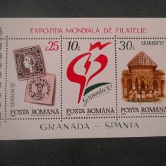 1992  LP 1283  EXPOZITIA MONDIALA DE FILATELIE GRANADA-SPANIA'92