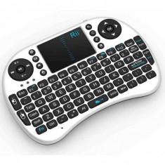Mini tastatura wireless, cu touchpad, pentru Smart TV XBox, PS, PC, Notebook, Alb Rii