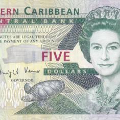 Bancnota Caraibe ( Eastern Caribbean ) 5 Dolari (2008) - P47 UNC - bancnota america