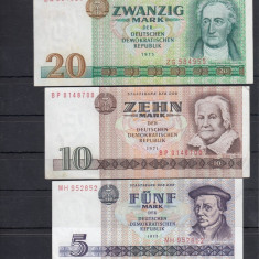 GERMANIA 1971 - 1975, BANCNOTE UNC, 5, 10, 20 MARCI - bancnota europa