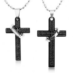 Set coliere pentru cupluri realizate din oțel 316L, cruce neagră cu inel, rugăciune - Colier inox