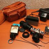 Aparat foto cu film praktika pcl-3 + accesorii