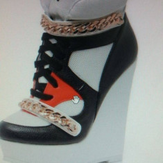SneakersFENCHURCH sport cu platforma alb negru - Adidasi dama, Marime: 38
