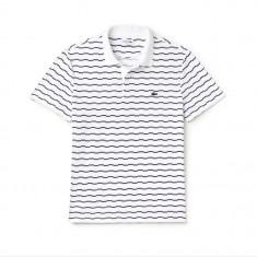Tricou Lacoste polo | Men's Robert George Irregular Stripe Polo Shirt - Tricou barbati, Marime: L, XL, Culoare: Alb, Maneca scurta, Bumbac