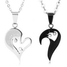 Set de coliere din oțel pentru îndrăgostiți, pandantive în formă de inimă, zirconii transparente - Colier inox