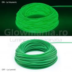 Fir cu lumina ambientala auto neon decorativ flexibil verde 3 m cu invertor - Lumini interior auto, Universal