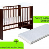 Patut KLUPS Teddy Stars Venghe fara sertar+ Saltea 8cm - Patut lemn pentru bebelusi